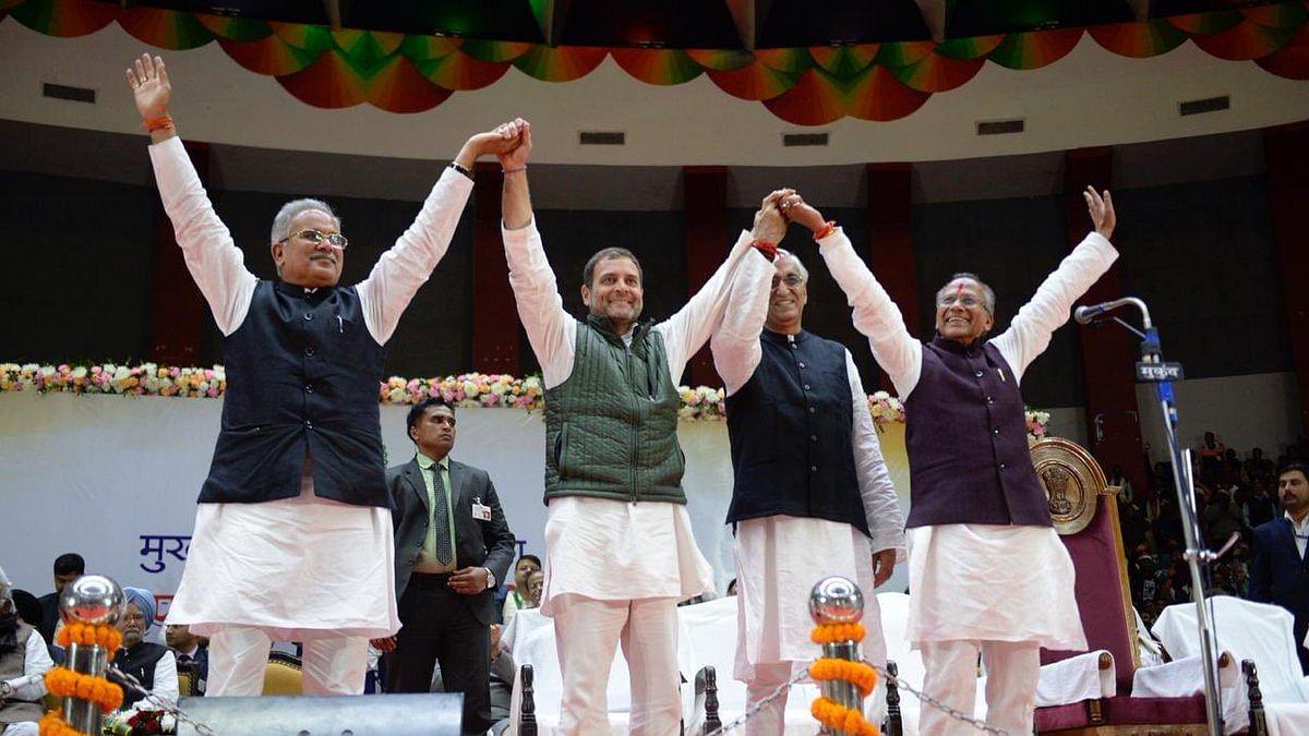 वीडियोः छत्तीसगढ़ के मुख्यमंत्री बने भूपेश बघेल, साथ में दो मंत्रियों ने भी ली शपथ