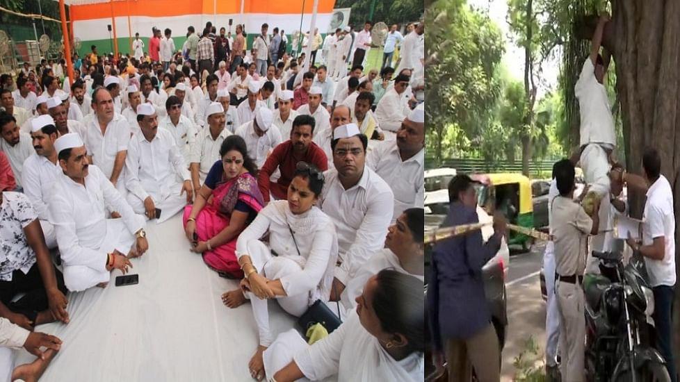 राहुल गांधी को मनाने के लिए धरने पर बैठे कांग्रेस कार्यकर्ता, एक ने की फांसी लगाने की कोशिश