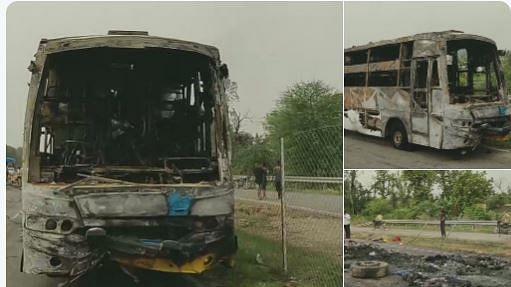 हरियाणा में चलती बस में लगी भीषण आग, हादसे में 2 लोगों की मौत, 12 लोग झुलसे, मचा हड़कंप