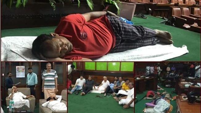 कर्नाटक: रात भर सदन में सोते-जागते गुजारी बीजेपी विधायकों ने रात, विश्वास मत आज