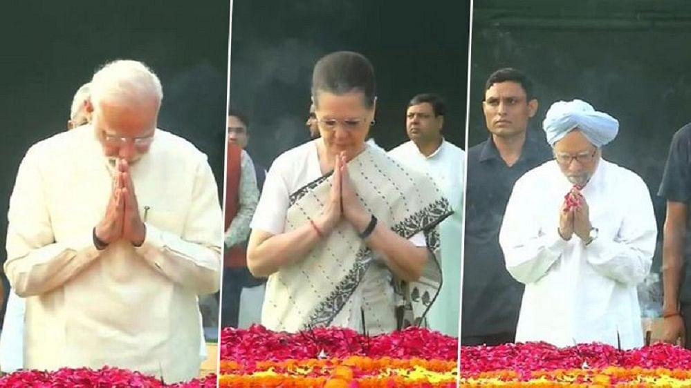 गांधी 150: पीएम मोदी, सोनिया गांधी और मनमोहन सिंह ने राजघाट पहुंचकर बापू को दी श्रद्धांजलि