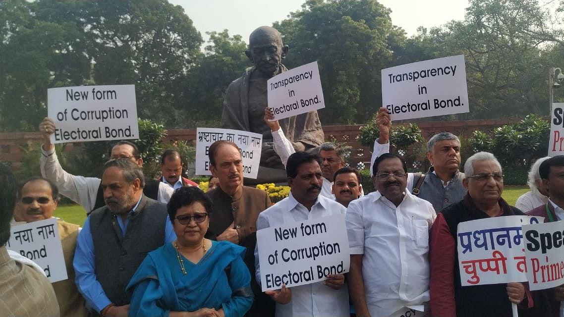 इलेक्टोरल बॉन्ड पर संसद में हंगामा, कांग्रेस की मांग- चुप्पी तोड़ें प्रधानमंत्री