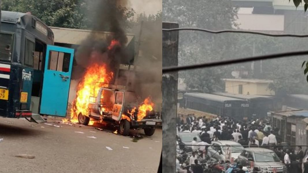 दिल्लीः कोर्ट परिसर में ही कानून के दो रखवालों में खूनी बवाल, वकीलों-पुलिस में जमकर मारपीट, फायरिंग, आगजनी