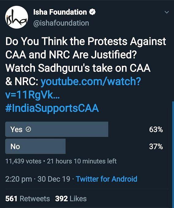 CAA-NRC पर ट्विटर पोल में जब नहीं आए मनमाफिक नतीजे तो कर दिए गए डिलीट, कुछ ने पाकिस्तानी ISI पर फोड़ा ठीकरा