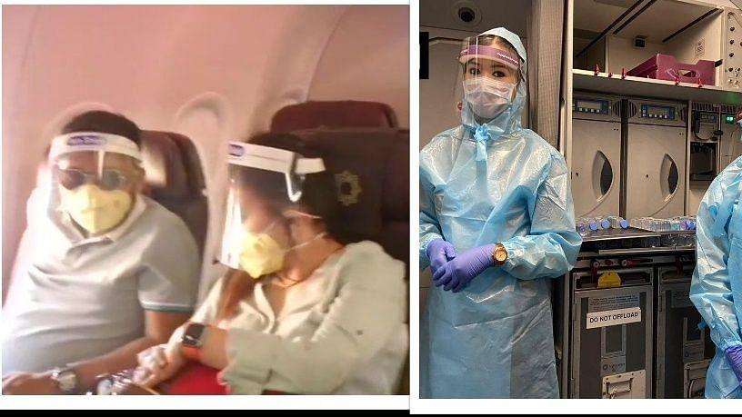 शुरू हुई घरेलू उड़ान सेवा लेकिन कई फ्लाइट हुई कैंसिल, यात्रियों ने पहना फेस शिल्ड, पीपीई किट में एयर होस्टेस