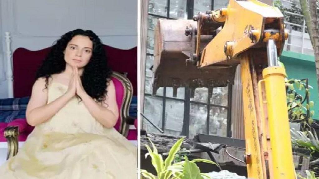 मुंबई: अभिनेत्री कंगना रनौत के दफ्तर में बने अवैध निर्माण पर चली BMC की JCB, कल दिया था नोटिस