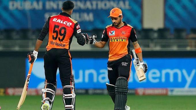 आईपीएल-13 : मनीष पांडे और विजय की शतकीय साझेदारी ने हैदराबाद को दिलाई जीत