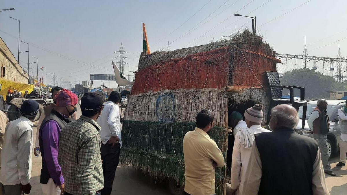 किसानों के सर्मथन में गाजीपुर बॉर्डर पर पहुंची चलती फिरती झोपड़ी, इसकी खासियत जानकर रह जाएंगे हैरान