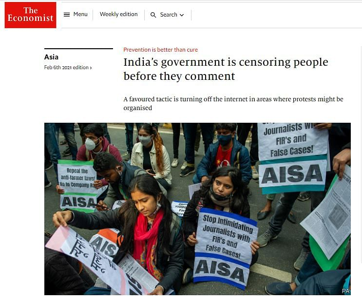 द इकोनॉमिस्ट में प्रकाशित भारत पर स्टोरी का स्क्रीनशॉट