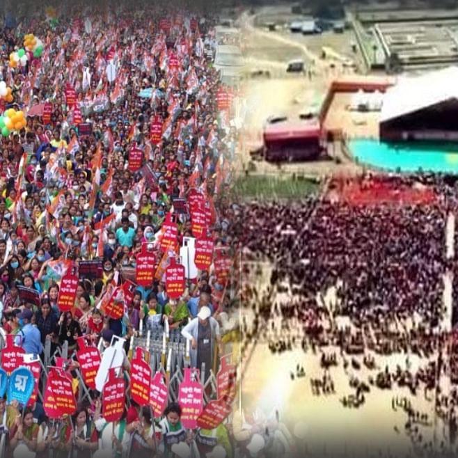 (बाएं) रविवार को सिलिगुड़ी में ममता बनर्जी की रैली, (दाएं) कोलकाता के ब्रिगेड ग्राउंड में पीएम की रैली का हवाई दृश्य (टीवी9 के सौजन्य से)