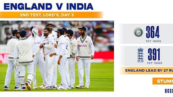लॉर्ड्स टेस्ट : तीसरे दिन की आखिरी गेंद पर ढेर हो गई इंग्लैंड की टीम, पहली पारी 391 रनों पर सिमटी