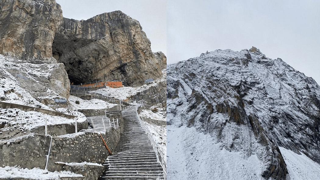 जम्मू-कश्मीर में सीजन की पहली बर्फबारी: अमरनाथ गुफा मंदिर और साधना टॉप पर हिमपात से खिले पर्यटकों के चेहरे!