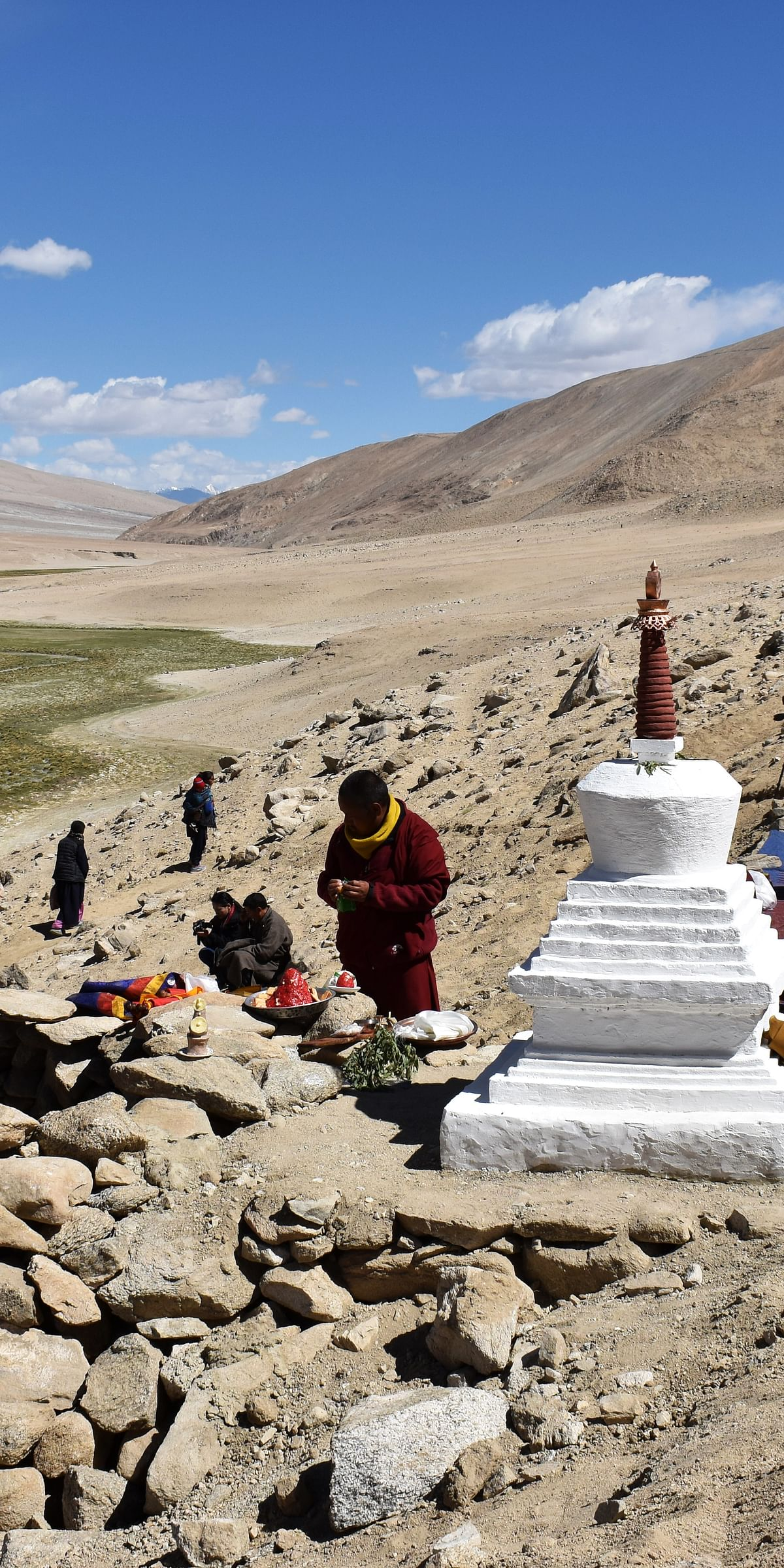 A stupa built at the site of a wolf trap in Changthang