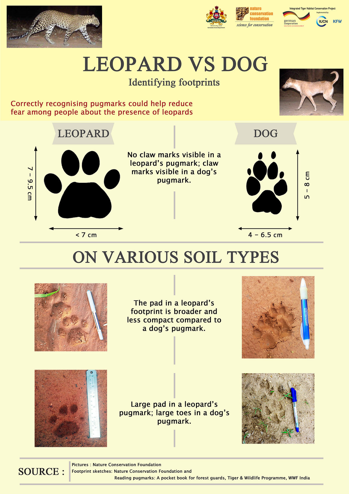 Poster depicting dog and leopard pugmarks designed to help reduce anxiety and tensions- English version