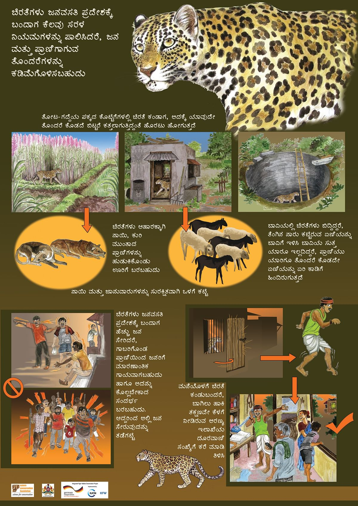 Poster designed to carry out awareness programs regarding human-leopard conflict