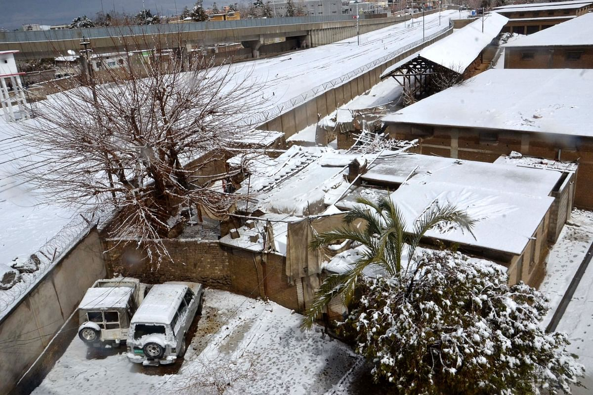 A photo taken on March 2, 2019 showing a snow-covered area after a heavy snowfall in southwest Pakistan's Quetta.