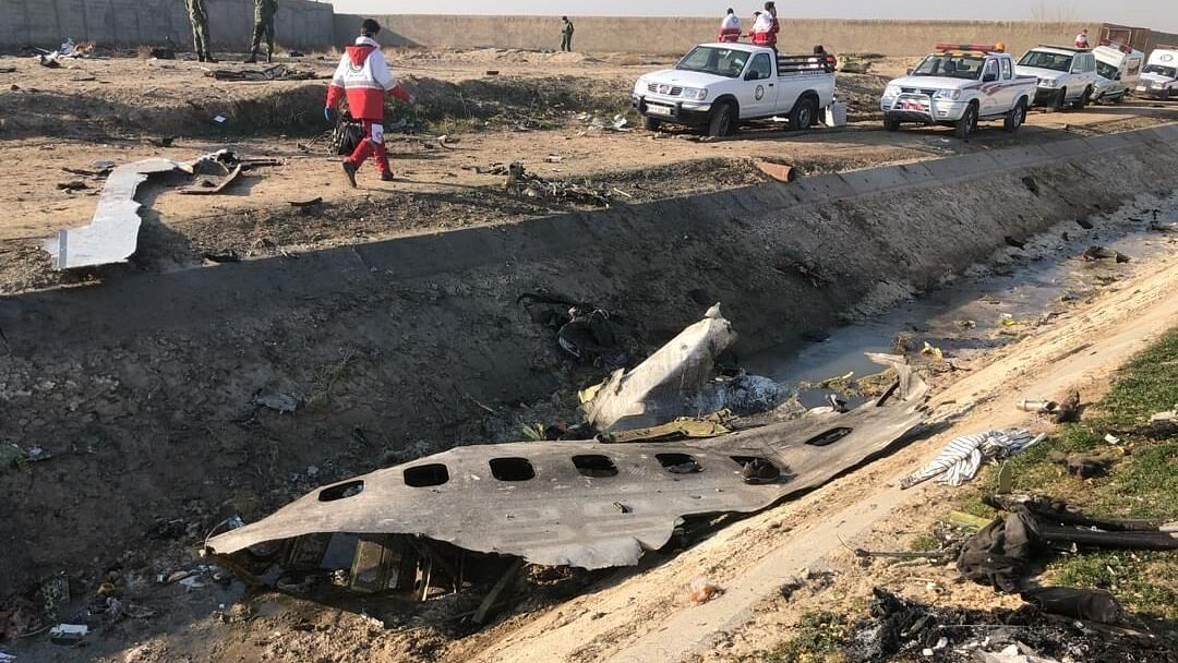 The scene near Tehran where a Ukrainian Boeing 737 aircraft crashed, killing all 176 people on board, on January 8, 2020