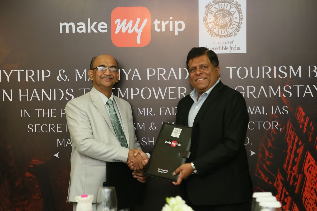 Manoj Kumar Singh, Director, Madhya Pradesh Tourism Development Board and Vipul Prakash, Chief Operating Officer, MakeMyTrip, after the two organisations signed a MoU on January 21, 2020.