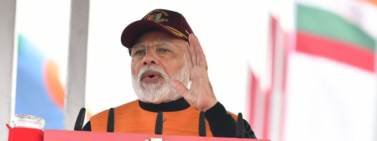 Prime Minister Narendra Modi addressing NCC cadets at the PM's National Cadet Corps (NCC) Rally, in New Delhi on January 28, 2020.