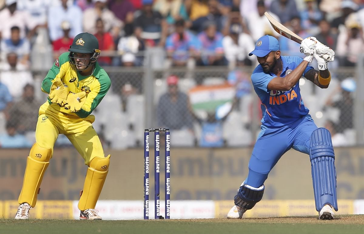 India's Lokesh Rahul in action during the first ODI between India and Australia at the Wankhede Stadium in Mumbai on January 14, 2020.