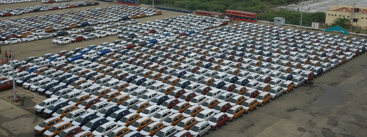 File photo of Renault Tribers lined up for export