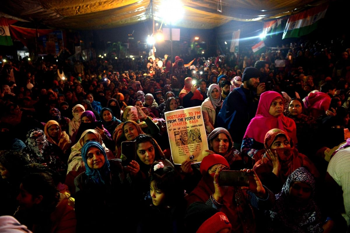 People staging a demonstration against the Citizenship (Amendment) Act (CAA) 2019, National Register of Citizens (NRC) and National Population Register (NPR), at Shaheen Bagh in New Delhi on January 18, 2020.