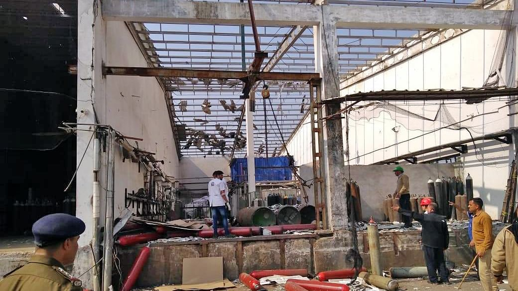 The site of a blast at an industrial and medical gas manufacturing company in at Padra in Vadodara district of Gujarat, on January 11, 2020.