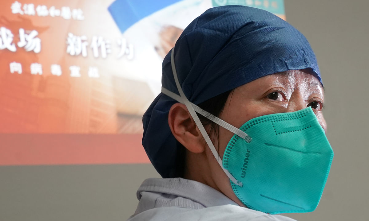 A doctor in Wuhan, who is part of the fight against novel coronavirus in central China's Hubei province, on January 22, 2020.