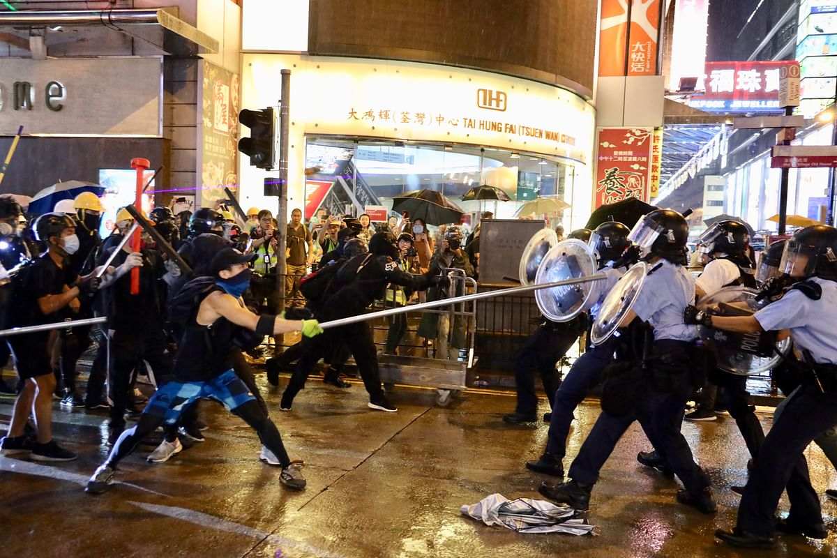 File photo of a clash between protesters and police officers in Hong Kong on August 25, 2019.