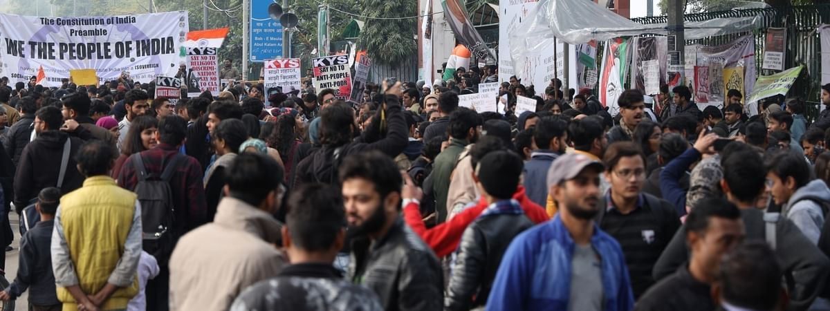 File photo of students staging a demonstration to express solidarity with the students of Jamia Millia Islamia (JMI) University and to protest against Citizenship Amendment Act (CAA) 2019, National Register of Citizens (NRC) and National Population Register (NPR), in New Delhi on January 15, 2020.