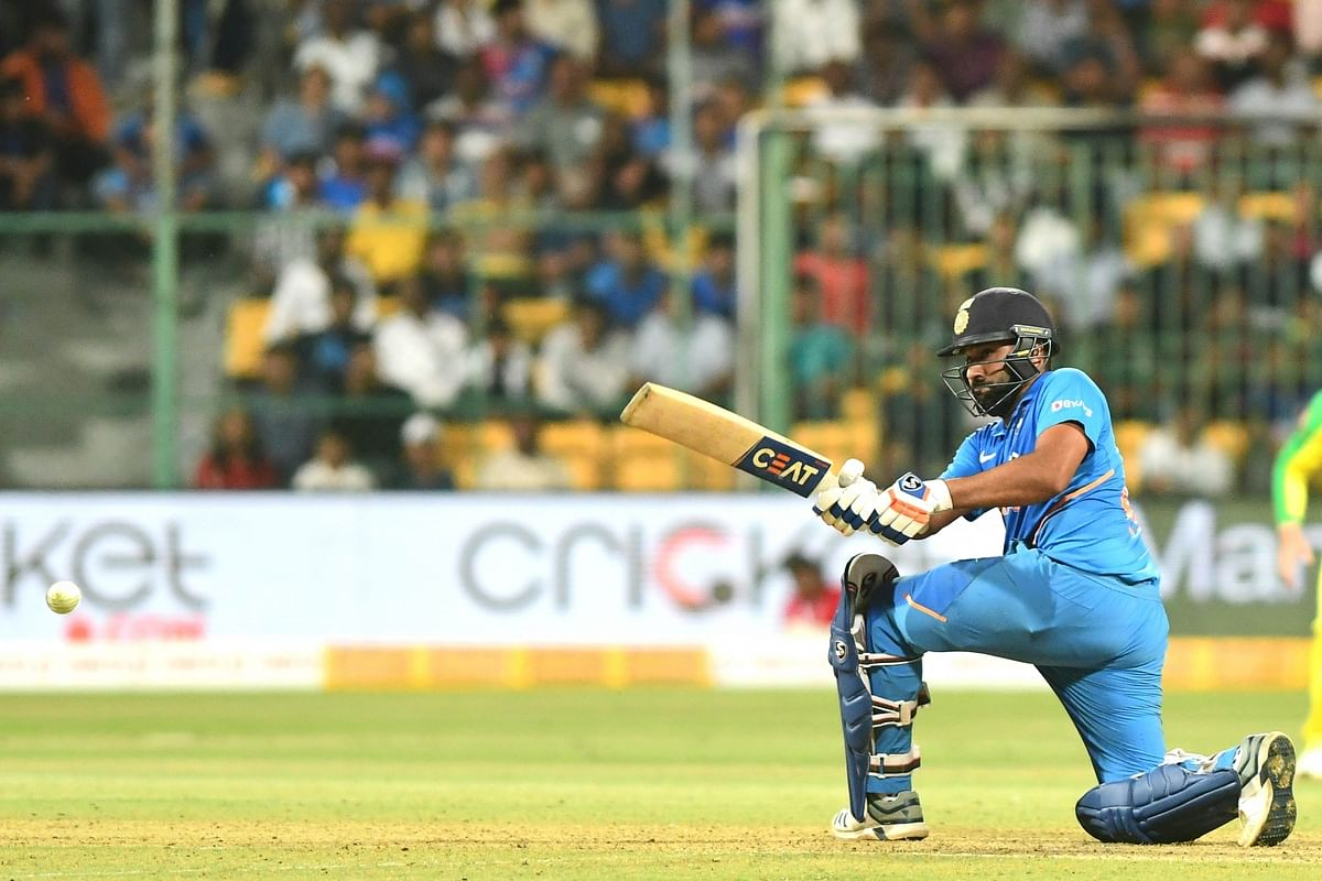 India's Rohit Sharma in action during the third and final ODI match between India and Australia, at the M. Chinnaswamy Stadium in Bengaluru on January 19, 2020.