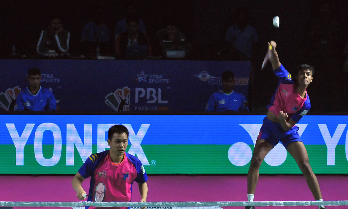 Chirag Shetty and Hendra Setiawan of Pune in action in the men's doubles match against Bengaluru's Arun George and Rian Agung Saputro in the Premier Badminton League in Lucknow, on January 27, 2020