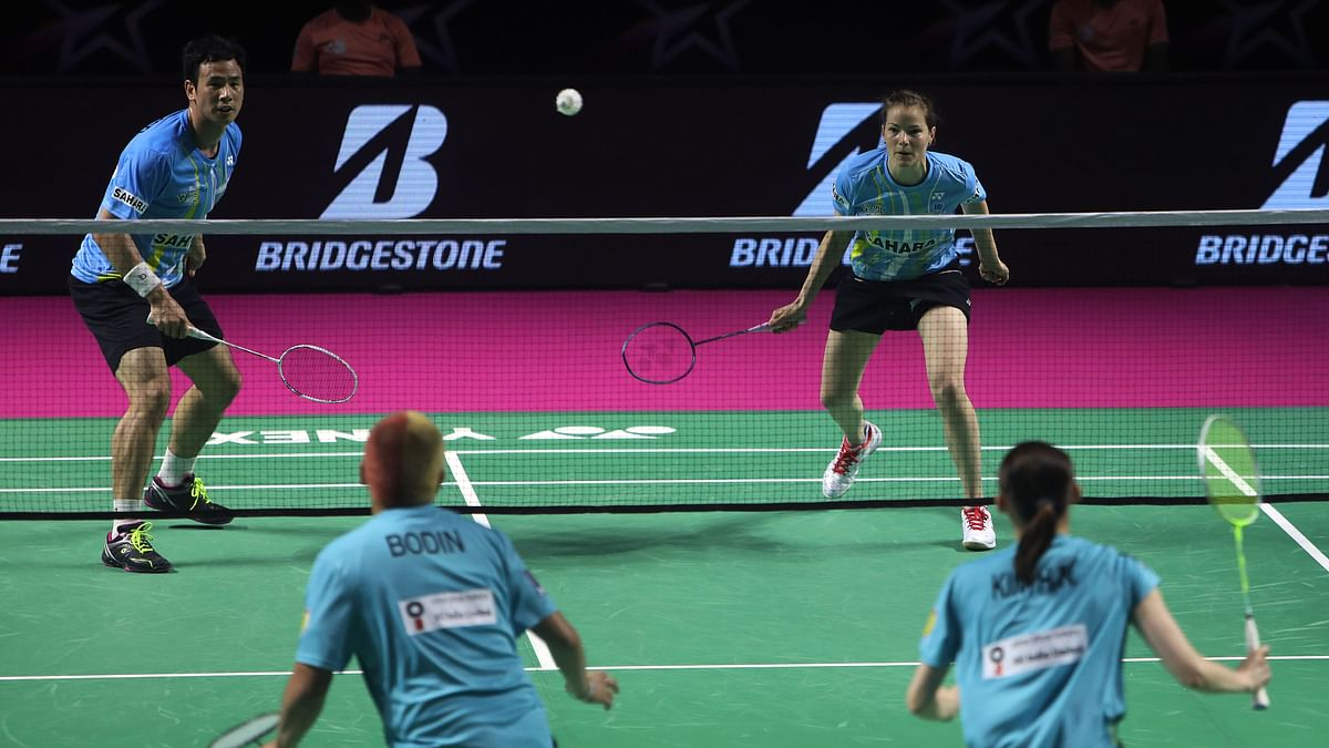 Ko Sung Hyun and Christinna  Pederson of Awadhe Warriors in action against Bodin Isara and Kim Ha Na of North Eastern Warriors in the Premier Badminton League in Chennai on  January 23, 2020.