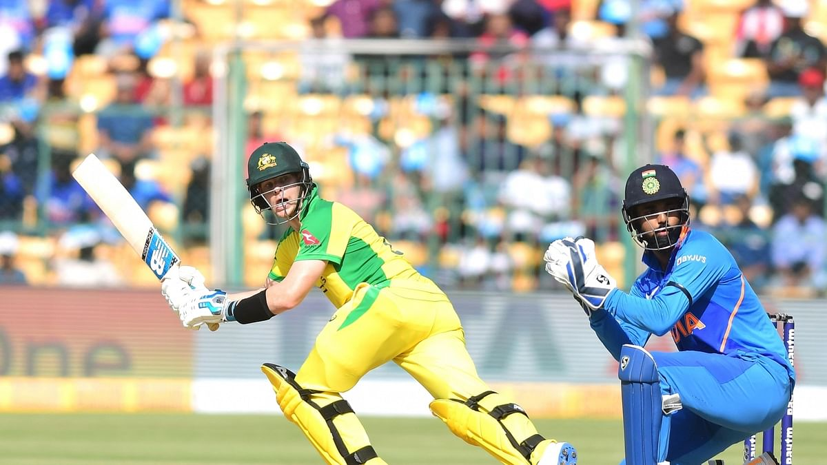 Australia's Steven Smith in action during the third and final ODI match between India and Australia, at the M. Chinnaswamy Stadium in Bengaluru on January 19, 2020.