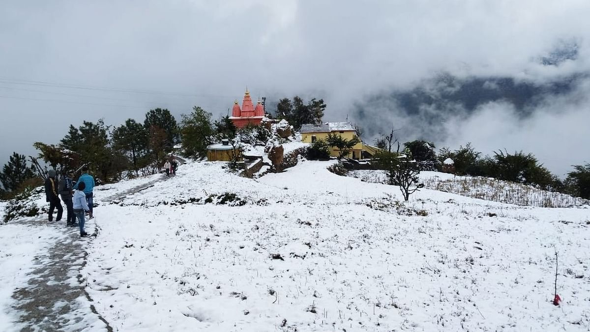 A scene in Tehri district of Uttarakhand, which experienced fresh snowfall on January 11, 2020.