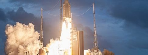 Arianespace's Ariane 5 launch vehicle lifting off with India's GSAT-30 and Eutelsat Konnect from the spaceport at Kourou in French Guiana on January 16, 2020