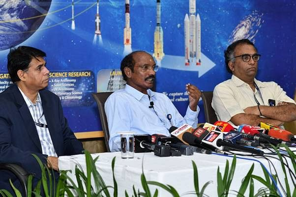 Indian Space Research Organisation  Chairman K Sivan addressing a press conference at ISRO headquarters in Bengaluru, on January 1, 2020.