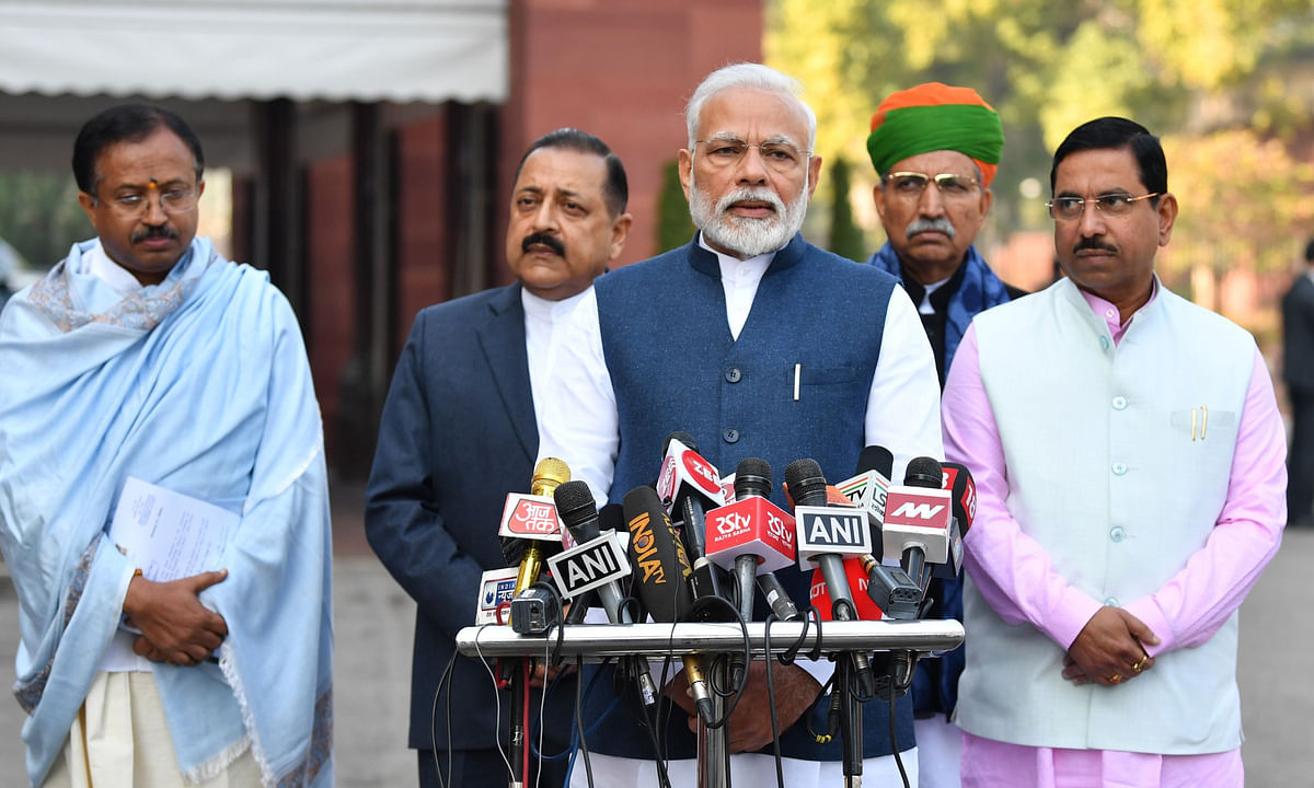 Prime Minister Narendra Modi addressing mediapersons on his arrival at Parliament House at the start of the Budget Session of Parliament, in New Delhi on January 31, 2020.