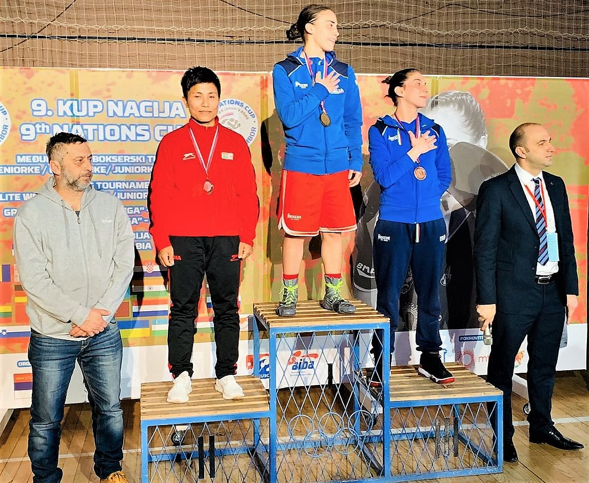 M Meena Kumari who won the silver medal in 54kg at the 9th Nations Cup Boxing Tournament for Women in Sombor, Serbia.