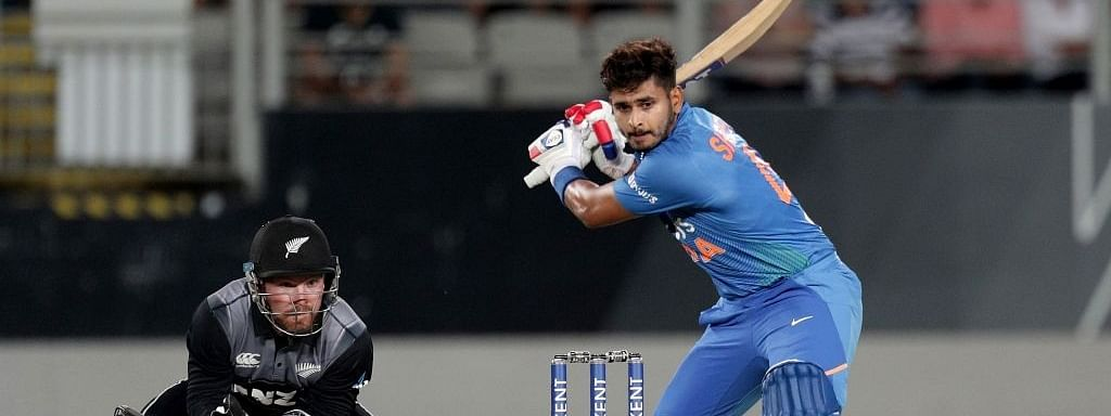 India's Shreyas Iyer in action during the first T20I of the five-game series between India and New Zealand at Eden Park in Auckland, New Zealand on January 24, 2020.