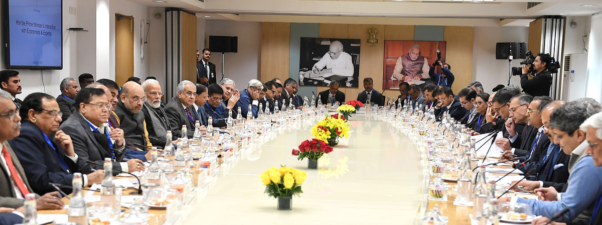 Prime Minister Narendra Modi interacting with economists, private equity and venture capitalists, business leaders and experts in various fields in New Delhi on January 9, 2020.