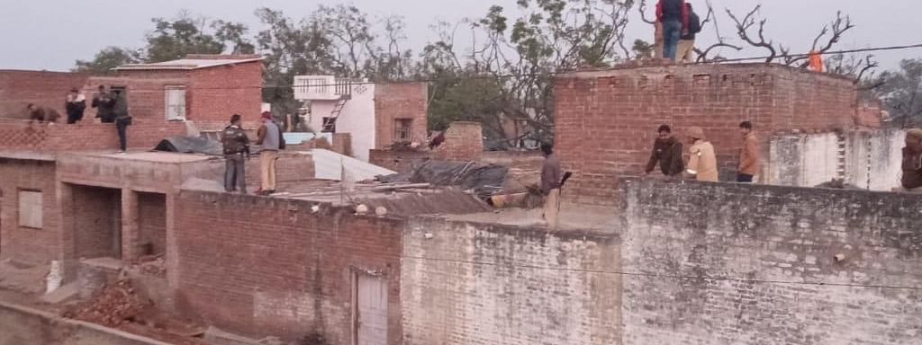 A view of the place in Farrukhabad, Uttar Pradesh, where a man took 20 children hostage, on January 30, 2020.