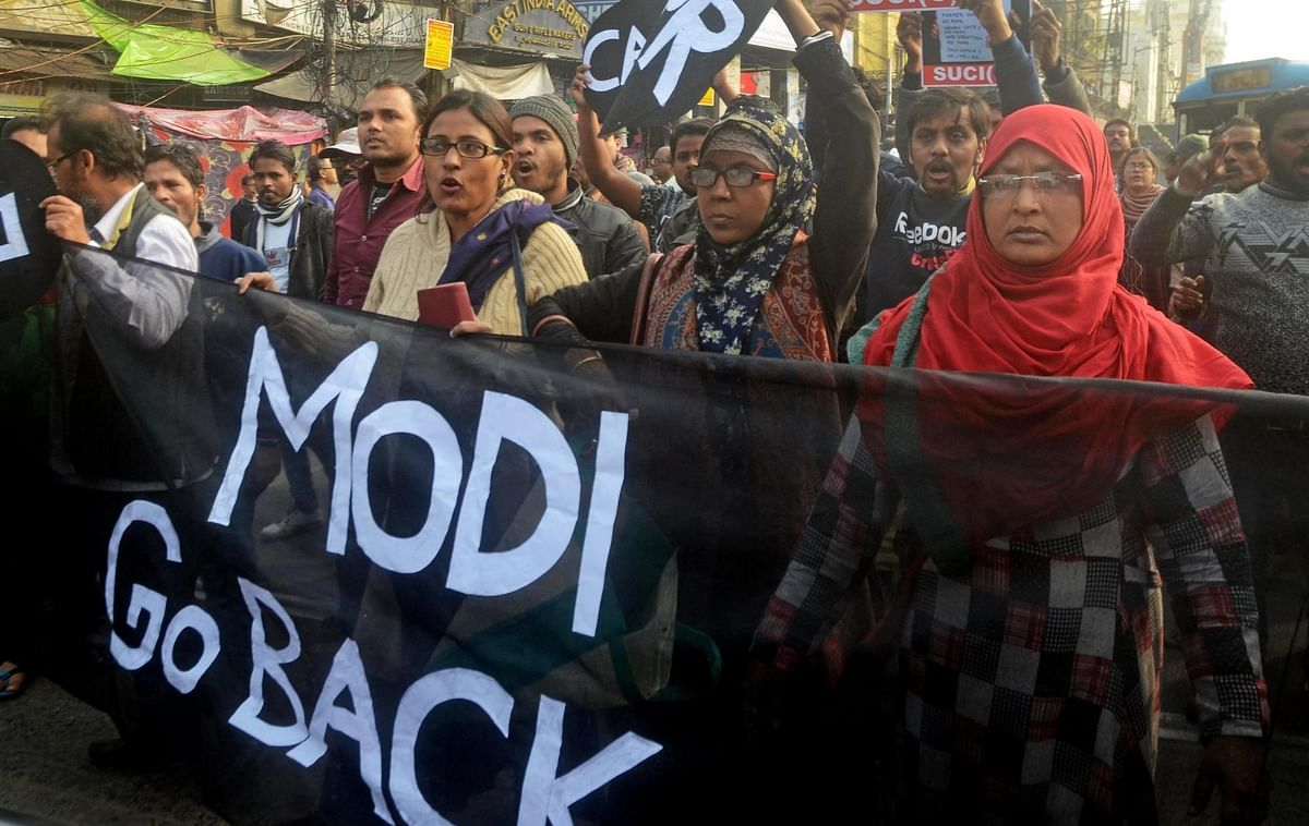 Socialist Unity Centre of India - Communist (SUCI-C) workers staging a demonstration against Prime Minister Narendra Modi during his visit to Kolkata, on January 11, 2020.
