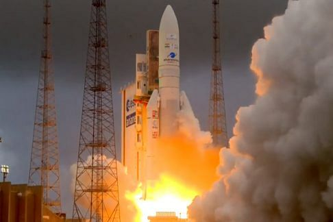 Arianespace's Ariane 5 launch vehicle lifting off with India's GSAT-30 and Eutelsat Konnect from the spaceport at Kourou in French Guiana on January 16, 2020.