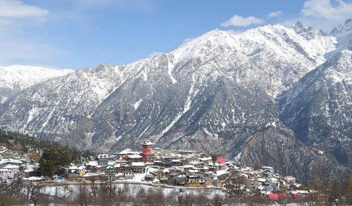 A file photo of Kalpa after snowfall in Himachal Pradesh's Kinnaur district.