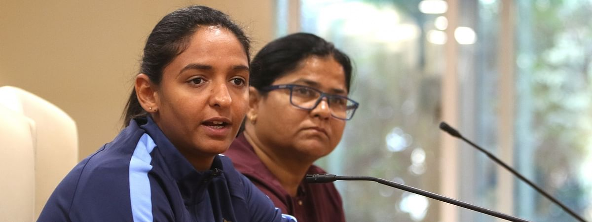 Indian women cricket team skipper Harmanpreet Kaur addressing a press conference at Wankhede Stadium in Mumbai on January 12, 2020.