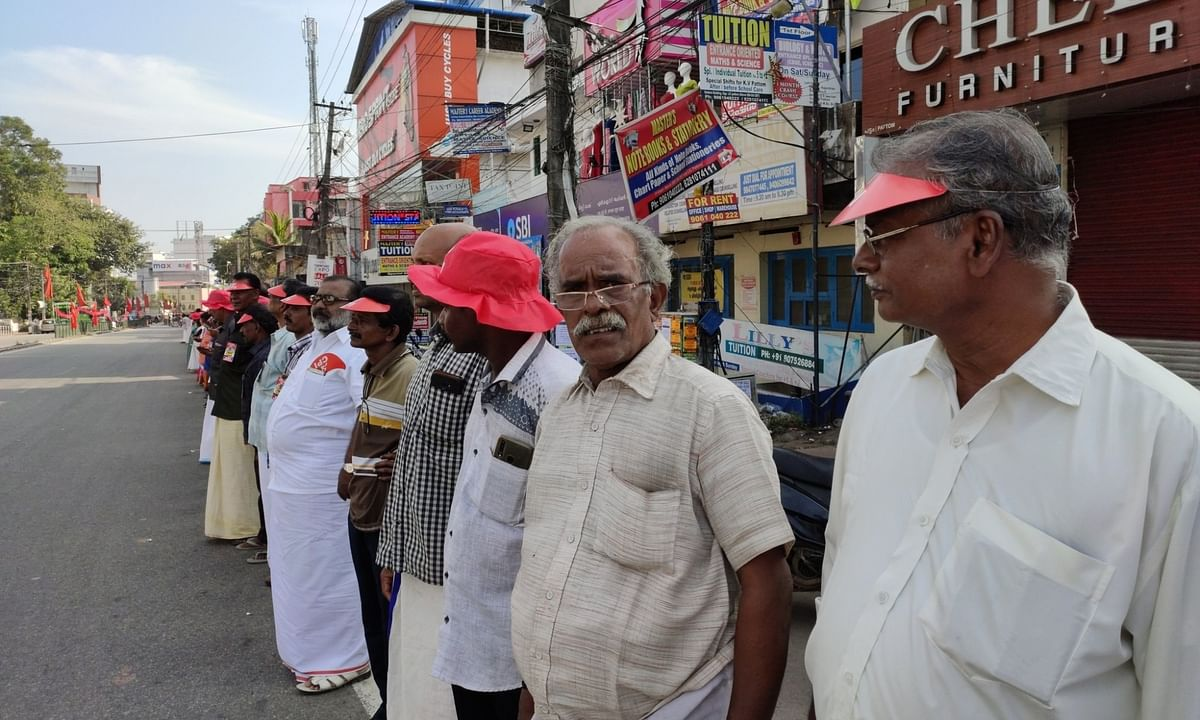 A view of the human chain formed in Kerala, with the participation of an estimated 7 million people, from Kasargod to the Tamil Nadu border near Thiruvananthapuram, against the CAA in response to call by the CPI-M-led Left Democratic Front (LDF) on January 26, 2020.