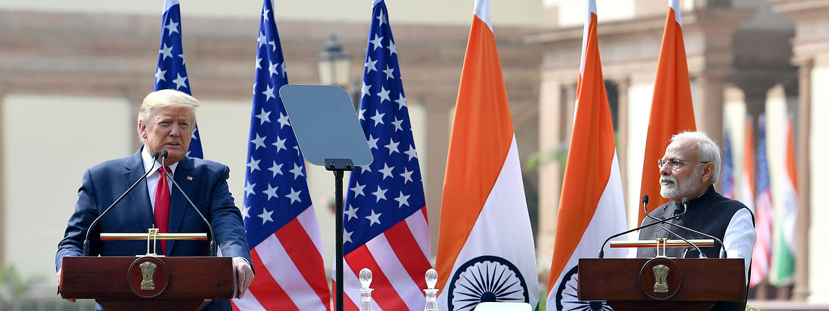 US President Donald Trump and Indian Prime Minister Narendra Modi at a media briefing after their talks, in New Delhi on February 25, 2020.