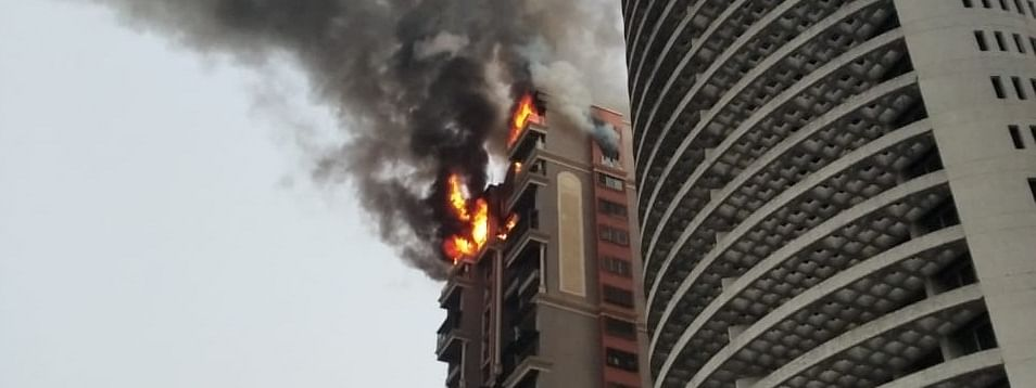 A view of the fire that broke out in a high-rise apartment building at Sector 44, Nerul Seawoods in Navi Mumbai on February 8, 2020.