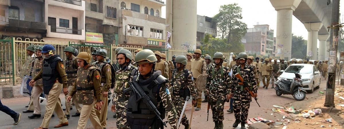 Security personnel patrolling in Maujpur Babarpur in New Delhi on February 26, 2020.